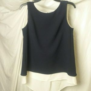 Bailey 44 Black and Ivory 2 Layer Silk Blouse
